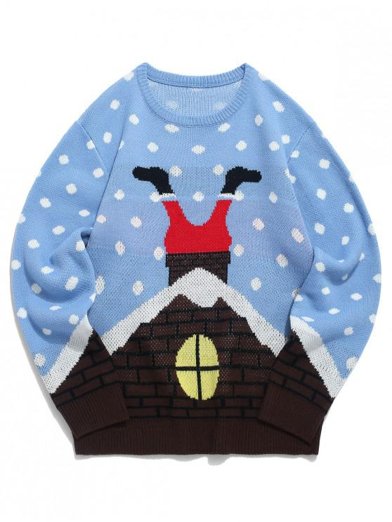 unique Christmas Santa Claus Pattern Ugly Sweater - DAY SKY BLUE L
