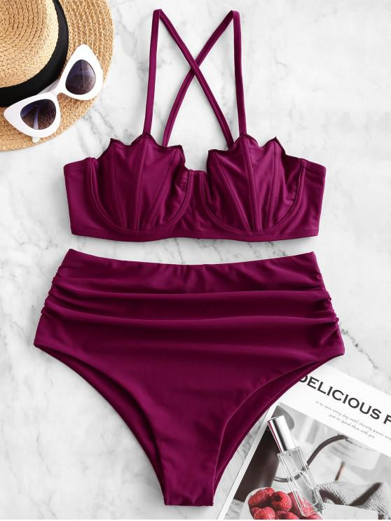 shop ZAFUL Batwing Cup Crisscross Ruched Underwire Bikini Swimsuit - MAROON M