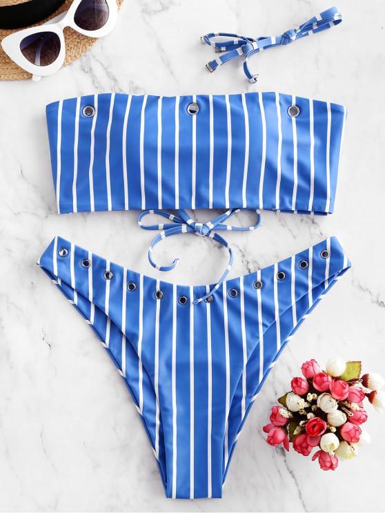 online ZAFUL Grommets Striped Lace-up Bandeau Bikini Swimsuit - OCEAN BLUE M