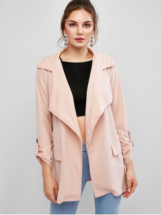 sale ZAFUL Rolled Tab Sleeves Solid Open Coat - ROSE M