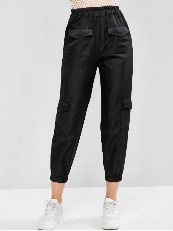 affordable Flap Pocket High Waisted Jogger Pants - BLACK M