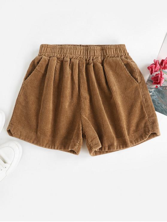 women's Notched Side Pockets Corduroy Shorts - DARK KHAKI ONE SIZE