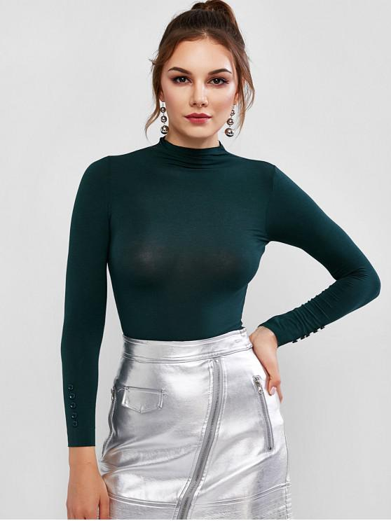 sale Mock Neck Buttoned Sleeve Basic Tee - MEDIUM SEA GREEN ONE SIZE
