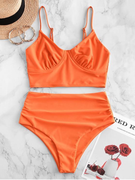 fancy ZAFUL Ruched Bustier Tankini Swimsuit - ORANGE M