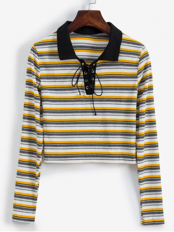 affordable Long Sleeve Lace Up Ribbed Stripes Tee - MULTI-A XL