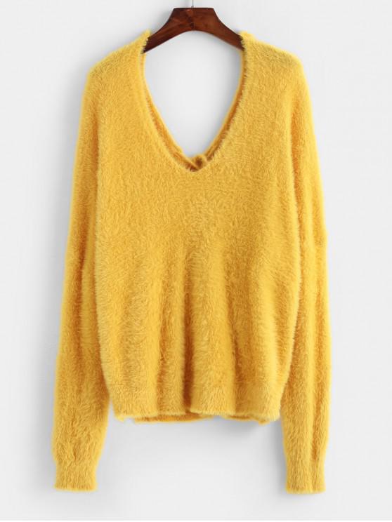 women ZAFUL X Luna Montana Back Lace Up Side Slit Fluffy Sweater - YELLOW ONE SIZE