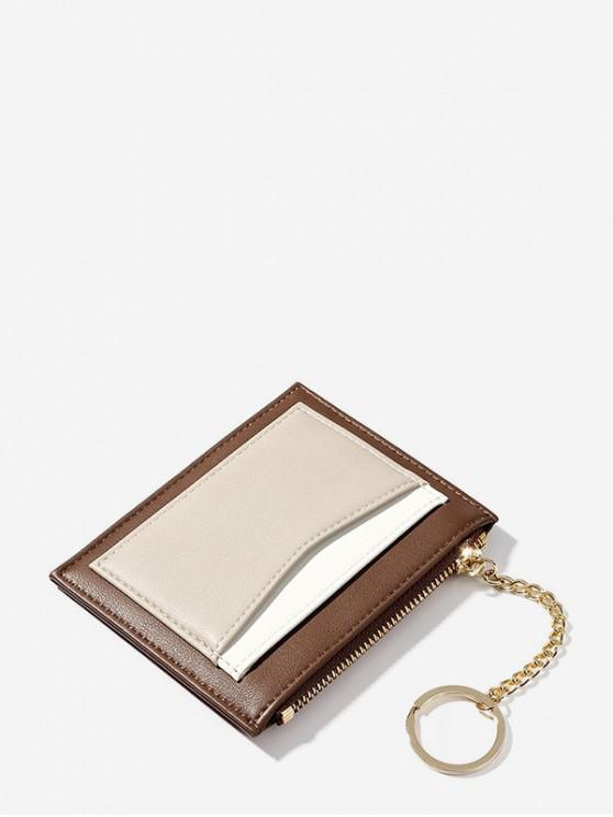 PU Leder Schlüsselring Kartentasche - Kastanie