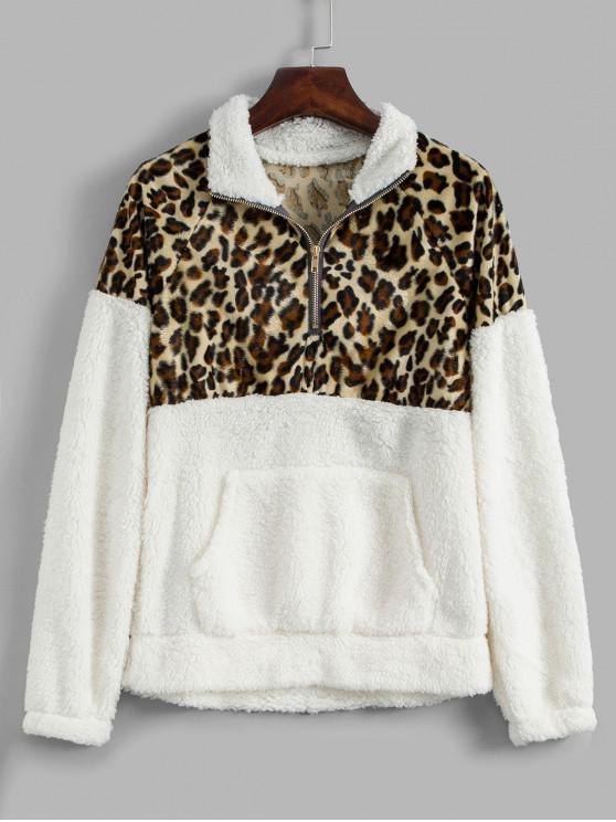 Sweat-shirt Fourré Panneau Léopard à Demi-Zip - Blanc M