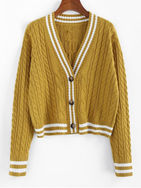 ZAFUL Striped picătură umăr cablu Knit Cardigan - Ginger Brown XL