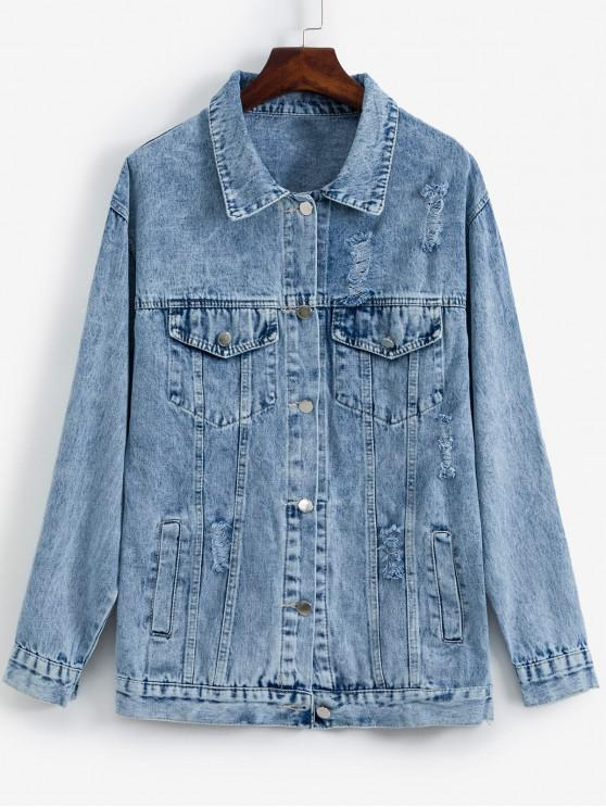sale Pockets Button Front Distressed Denim Jacket - BABY BLUE ONE SIZE