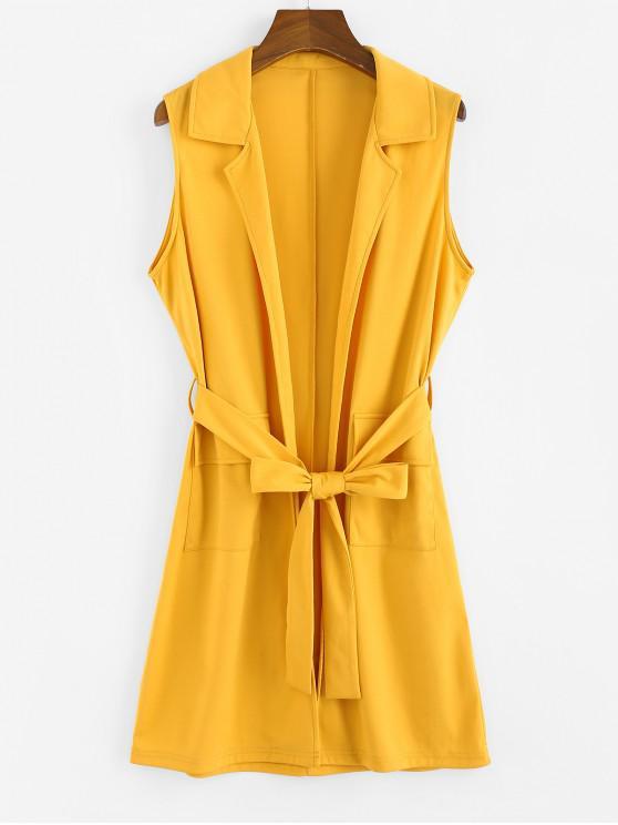 hot ZAFUL Notch Lapel Pocket Belted Tunic Waistcoat - BEE YELLOW M