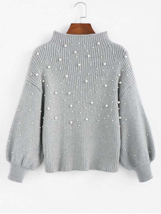 ZAFUL Ciubuc Mock Neck Lantern maneca pulover - Gray Cloud S