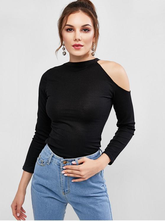 ladies Open Shoulder Ribbed Top - BLACK S