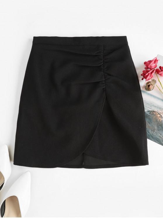 latest Back Zipper Draped Tulip Mini Skirt - BLACK S
