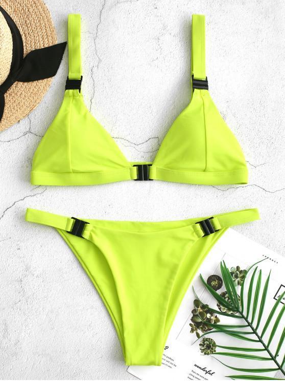 outfits ZAFUL Neon Plunge Front Closure Bikini Swimsuit - GREEN YELLOW S