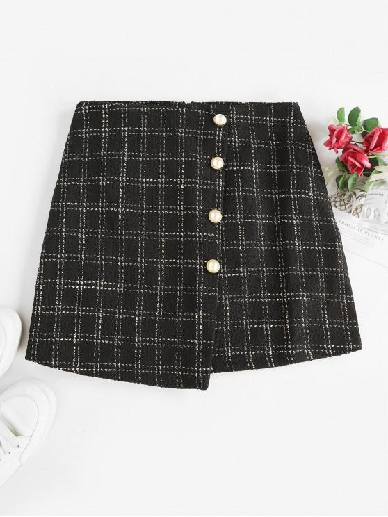 unique Overlap Pearly Buttons Plaid Tweed Skirt - BLACK XL