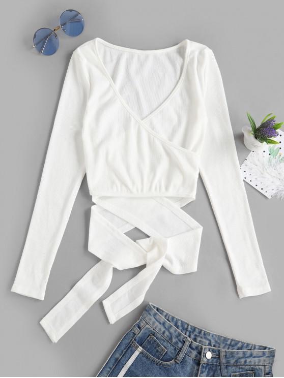 fashion Cropped Ribbed Wrap Top - WHITE M