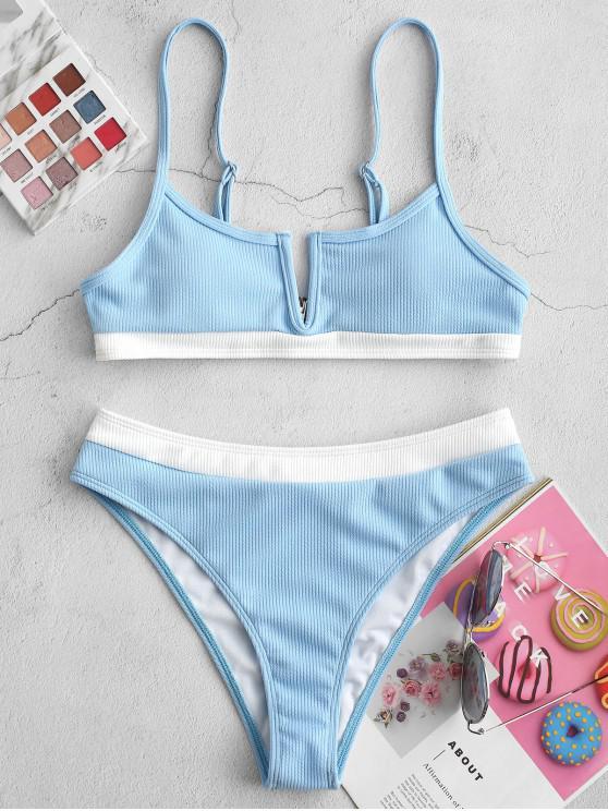 shop ZAFUL Ribbed Colorblock V Wired Bikini Swimsuit - DAY SKY BLUE M