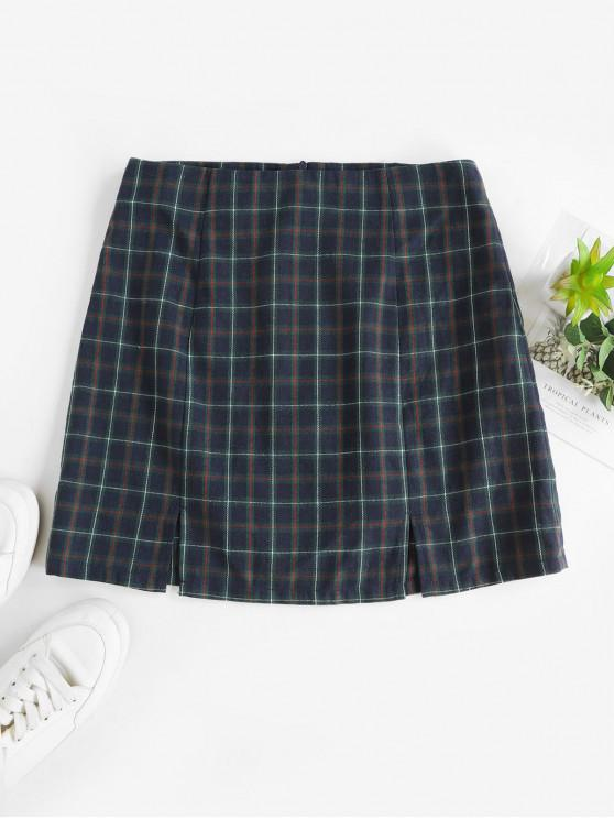trendy ZAFUL Slits Plaid Mini A Line Skirt - MULTI-C M