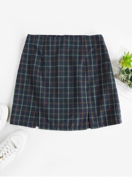 sale ZAFUL Slits Plaid Mini A Line Skirt - MULTI-C XL