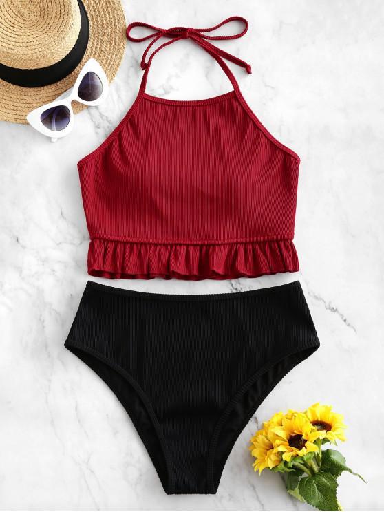 women's ZAFUL Textured Ribbed Ruffle Halter Tankini Swimsuit - RED WINE L