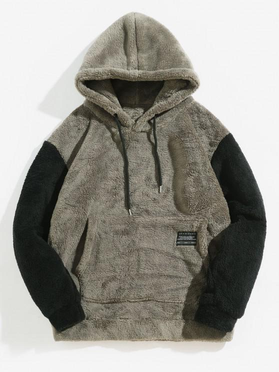 new Color-blocking Pouch Pocket Fluffy Hoodie - BATTLESHIP GRAY 2XL