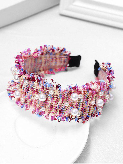 fancy Chic Pearl Decorate Headband - ROSE RED  Mobile