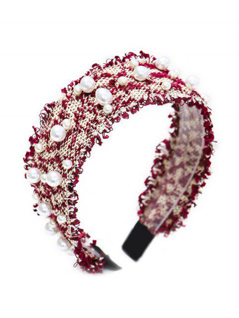 women Chic Pearl Decorate Headband - RED WINE  Mobile