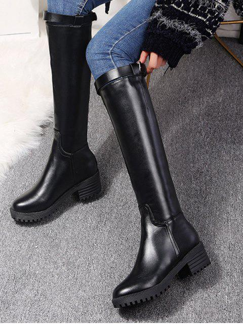 unique PU Round Toe Chunky Heel Knee High Boots - BLACK EU 39 Mobile