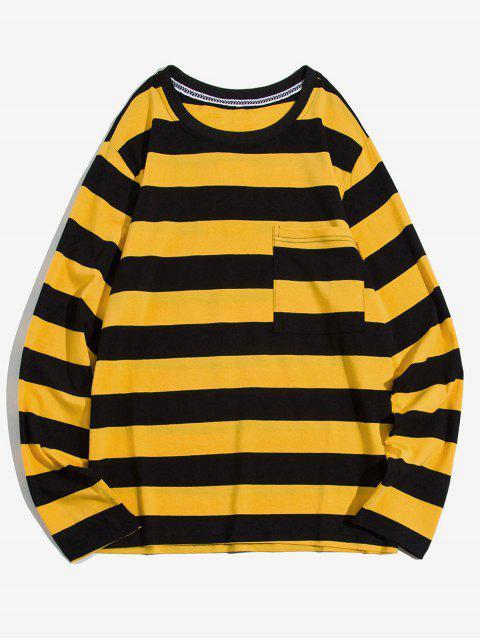Manga colorblock de rayas bolsillo en el pecho de la camiseta larga - Amarillo M Mobile