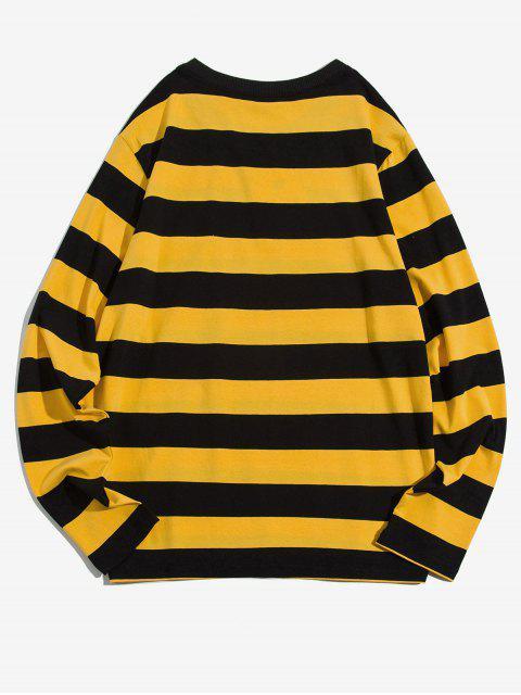 Manga colorblock de rayas bolsillo en el pecho de la camiseta larga - Amarillo L Mobile