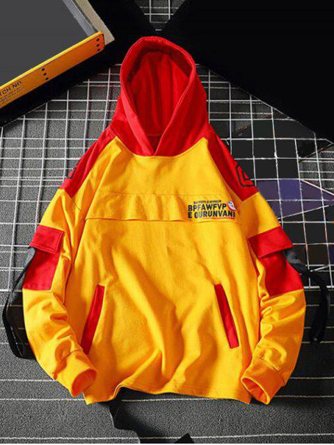 latest Letter Graphic Colorblock Splicing Pullover Hoodie - RUBBER DUCKY YELLOW 2XL Mobile