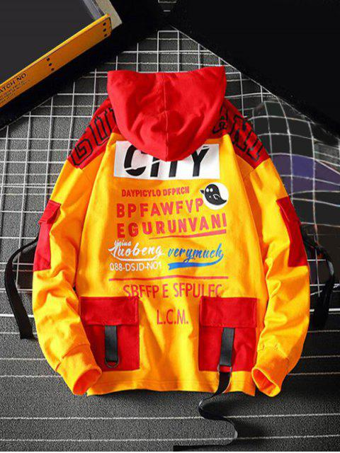 buy Letter Graphic Colorblock Splicing Pullover Hoodie - RUBBER DUCKY YELLOW XS Mobile