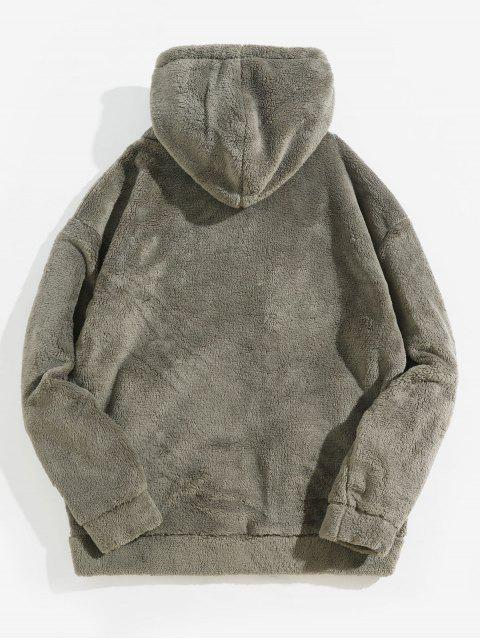 unique Casual Fluffy Zip Up Hooded Jacket - ASH GRAY L Mobile