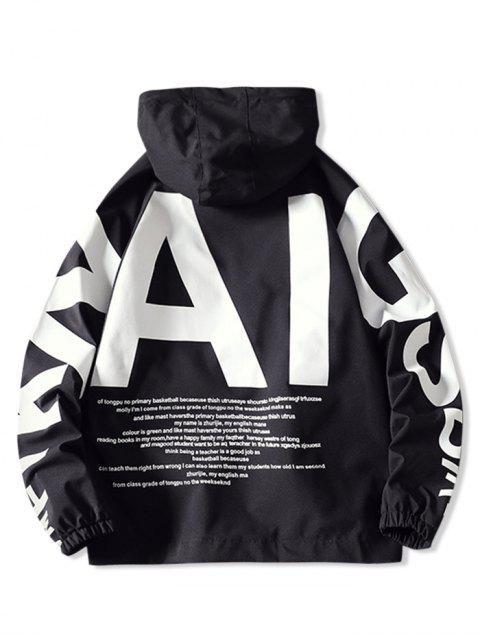 online AI Letter Graphic Flap Pocket Raglan Sleeve Hooded Jacket - BLACK 3XL Mobile