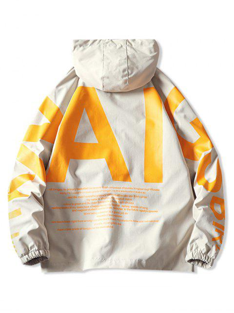 shops AI Letter Graphic Flap Pocket Raglan Sleeve Hooded Jacket - KHAKI L Mobile