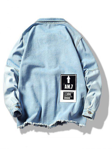 fashion Distressed Colorblock Spliced Applique Jean Jacket - LIGHT BLUE M Mobile