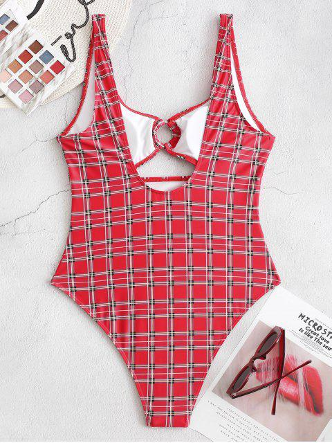 sale ZAFUL Plaid Backless Cutout High Cut One-piece Swimsuit - LAVA RED S Mobile