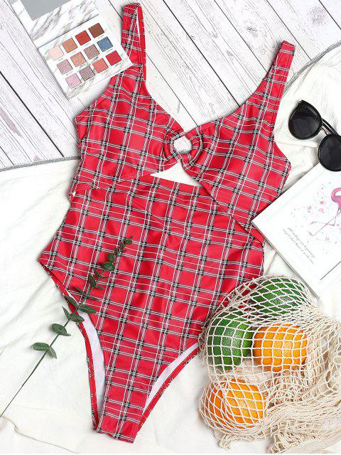 chic ZAFUL Plaid Backless Cutout High Cut One-piece Swimsuit - LAVA RED L Mobile