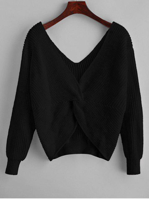 lady ZAFUL x Yasmine Bateman Twisted Plunging Drop Shoulder Jumper Sweater - BLACK S Mobile