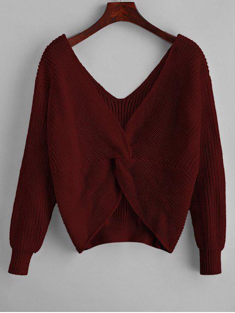 women ZAFUL x Yasmine Bateman Twisted Plunging Drop Shoulder Jumper Sweater - RED WINE L Mobile