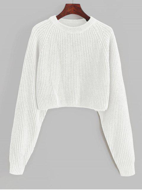 lady ZAFUL Raglan Sleeve Crop Jumper Sweater - WHITE S Mobile