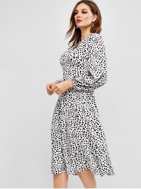 Robe Boutonnée à Pois Dalmatien à Manches Longues - Multi M Mobile