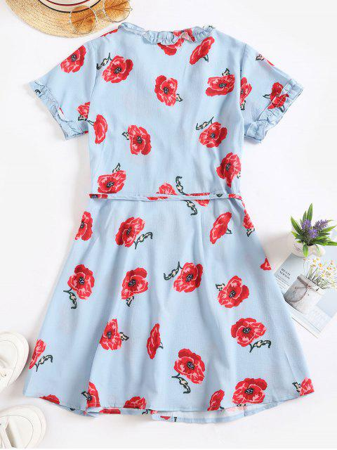 hot Flower Print Frilled Short Wrap Dress - BABY BLUE M Mobile