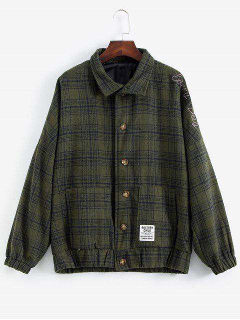 chic Letter Embroiderd Plaid Drop Shoulder Coat - ARMY GREEN M Mobile