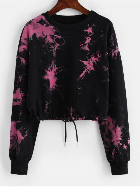 latest Tie Dye Drop Shoulder Cropped Sweatshirt - BLACK M Mobile
