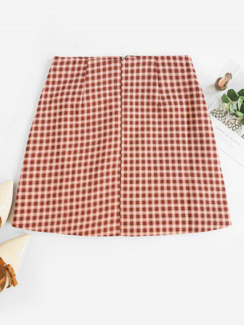 chic Faux Pockets Zip Front Plaid Mini Skirt - DEEP BROWN L Mobile