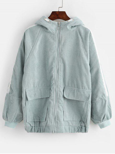 lady Hooded Corduroy Fluffy Lined Flap Pocket Zip Coat - MACAW BLUE GREEN M Mobile