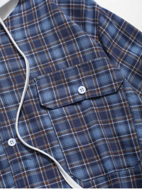 Patrón de manga larga a cuadros bolsillo de la camisa - Azul M Mobile