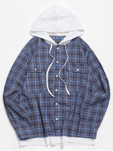 Patrón de manga larga a cuadros bolsillo de la camisa - Azul S Mobile